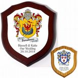 Family Crest Coat of Arms 6 inch Shield Plaque PERSONALISED, ref FCSMP